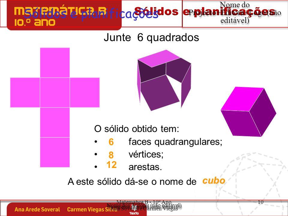 Matemática B - 10º Ano Ana Soveral e Carmen Viegas 10 Sólidos e planificações Nome do Projecto+Editora+Logo (não editável) O sólido obtido tem: faces