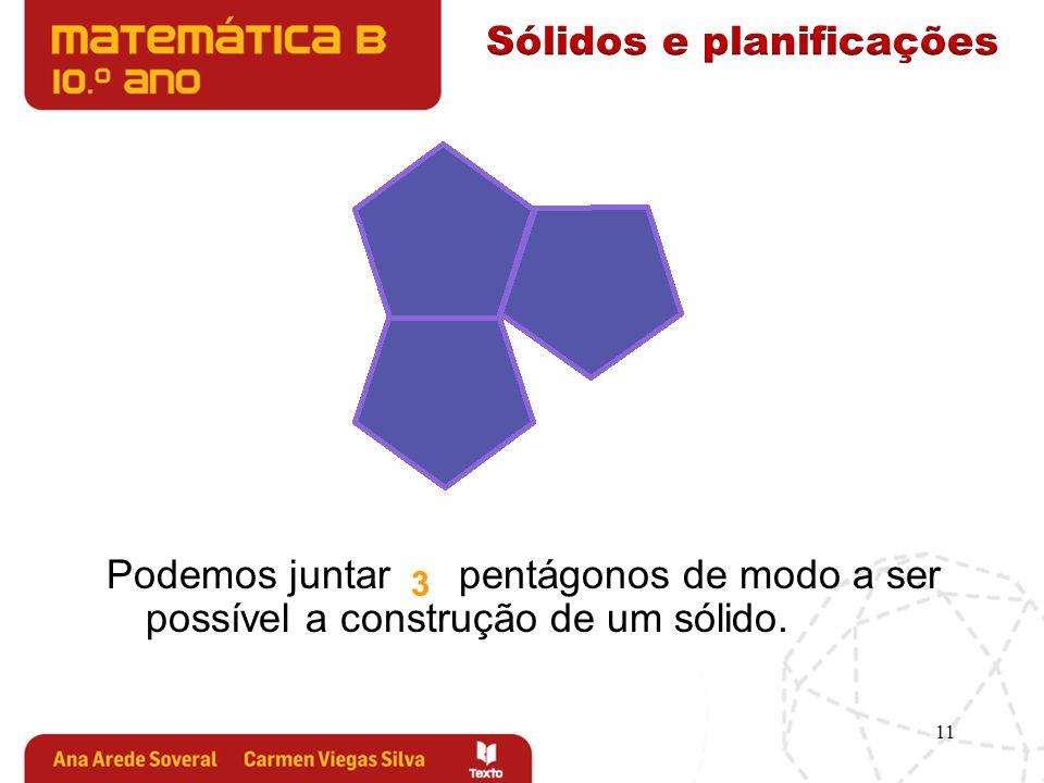 11 Podemos juntar pentágonos de modo a ser possível a construção de um sólido. 3