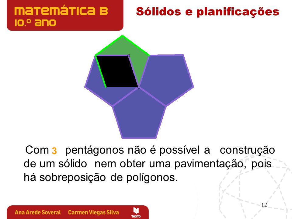 12 3 Com pentágonos não é possível a construção de um sólido nem obter uma pavimentação, pois há sobreposição de polígonos.