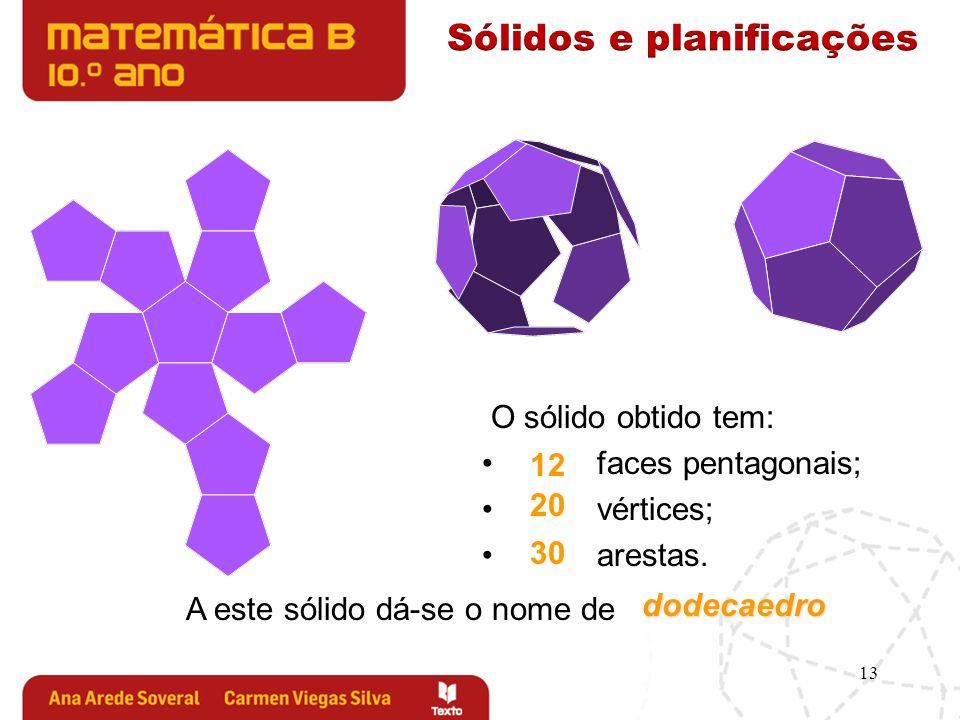 13 O sólido obtido tem: faces pentagonais; vértices; arestas. A este sólido dá-se o nome de 12 20 30 dodecaedro