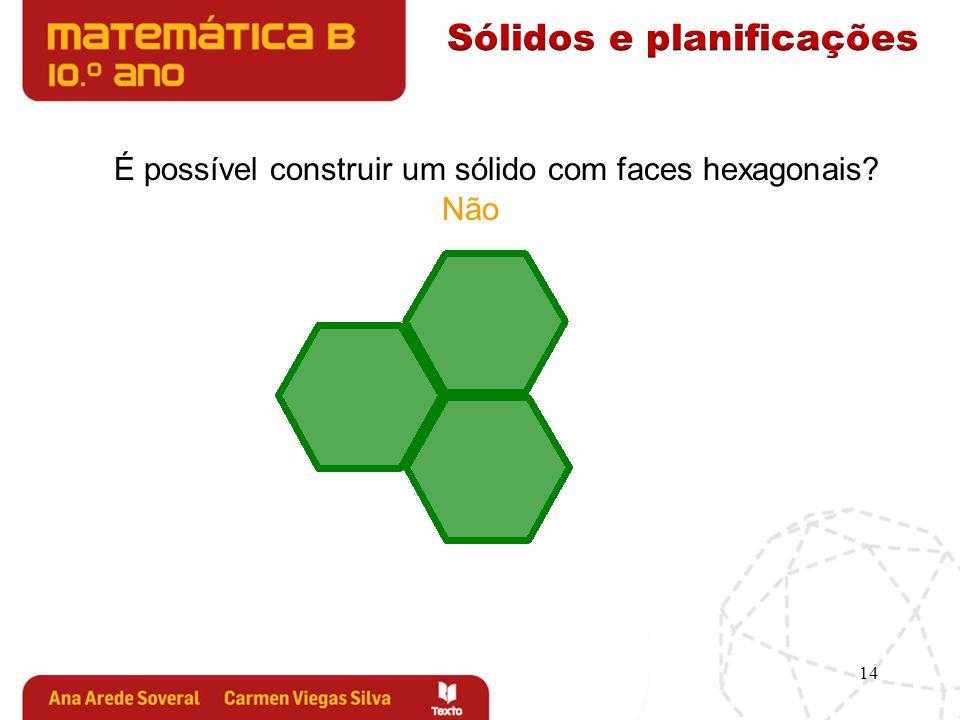 14 É possível construir um sólido com faces hexagonais? Não