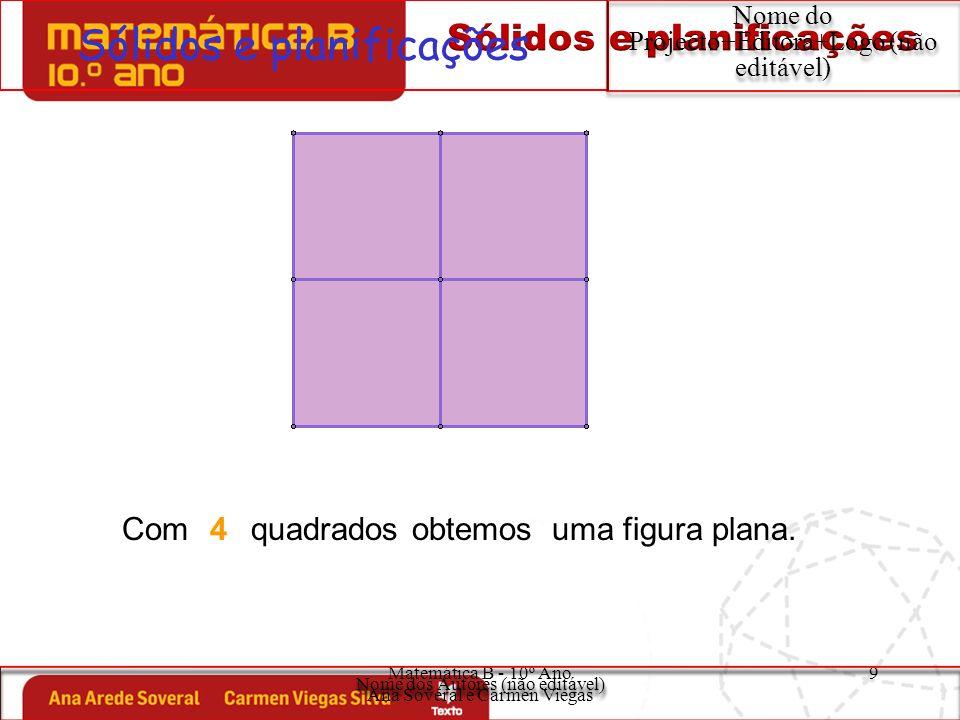 Matemática B - 10º Ano Ana Soveral e Carmen Viegas 10 Sólidos e planificações Nome do Projecto+Editora+Logo (não editável) O sólido obtido tem: faces quadrangulares; vértices; arestas.