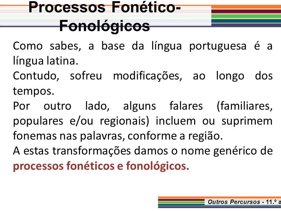 Outros Percursos - 11.º ano Como sabes, a base da língua portuguesa é a língua latina. Contudo, sofreu modificações, ao longo dos tempos. Por outro la