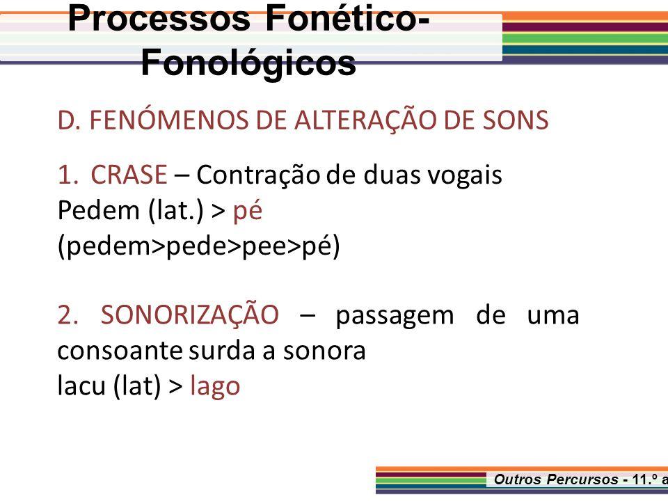 Outros Percursos - 11.º ano D. FENÓMENOS DE ALTERAÇÃO DE SONS 1.CRASE – Contração de duas vogais Pedem (lat.) > pé (pedem>pede>pee>pé) 2. SONORIZAÇÃO