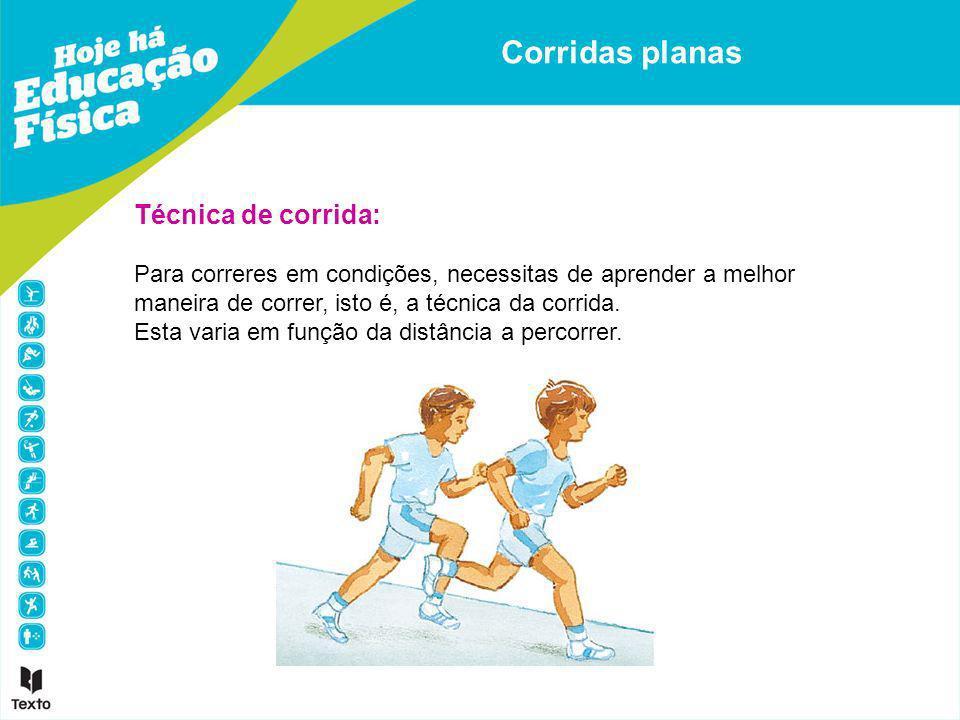 Técnica de corrida: Para correres em condições, necessitas de aprender a melhor maneira de correr, isto é, a técnica da corrida. Esta varia em função