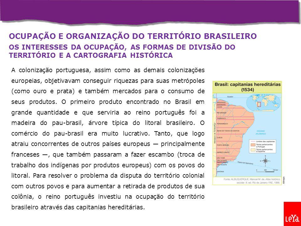 OCUPAÇÃO E ORGANIZAÇÃO DO TERRITÓRIO BRASILEIRO OS INTERESSES DA OCUPAÇÃO, AS FORMAS DE DIVISÃO DO TERRITÓRIO E A CARTOGRAFIA HISTÓRICA A colonização portuguesa, assim como as demais colonizações europeias, objetivavam conseguir riquezas para suas metrópoles (como ouro e prata) e também mercados para o consumo de seus produtos.