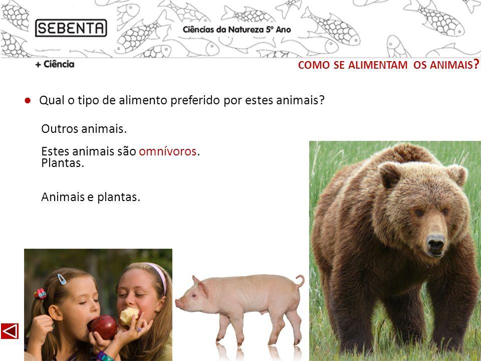 Qual o tipo de alimento preferido por estes animais? Estes animais são omnívoros. Outros animais. Plantas. Animais e plantas. COMO SE ALIMENTAM OS ANI