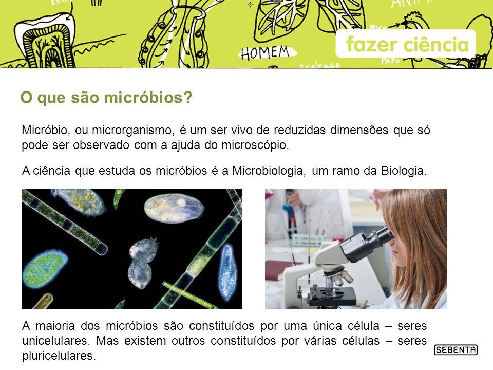 O que são micróbios? Micróbio, ou microrganismo, é um ser vivo de reduzidas dimensões que só pode ser observado com a ajuda do microscópio. A maioria