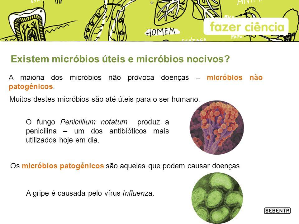 Existem micróbios úteis e micróbios nocivos? A maioria dos micróbios não provoca doenças – micróbios não patogénicos. O fungo Penicillium notatum prod