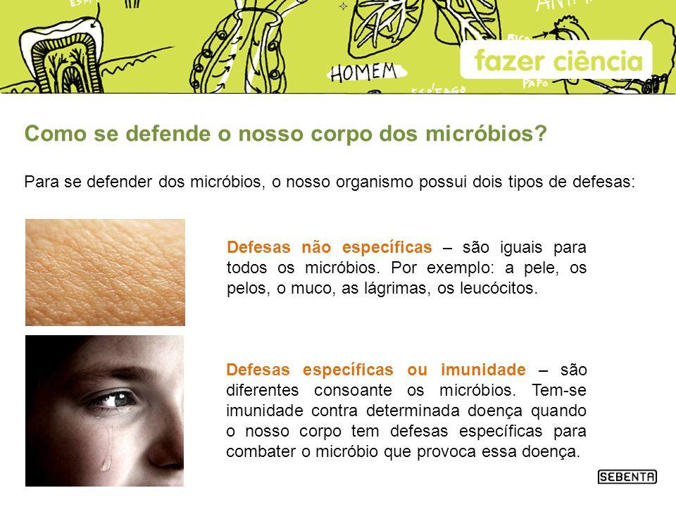 Como se defende o nosso corpo dos micróbios? Para se defender dos micróbios, o nosso organismo possui dois tipos de defesas: Defesas não específicas –