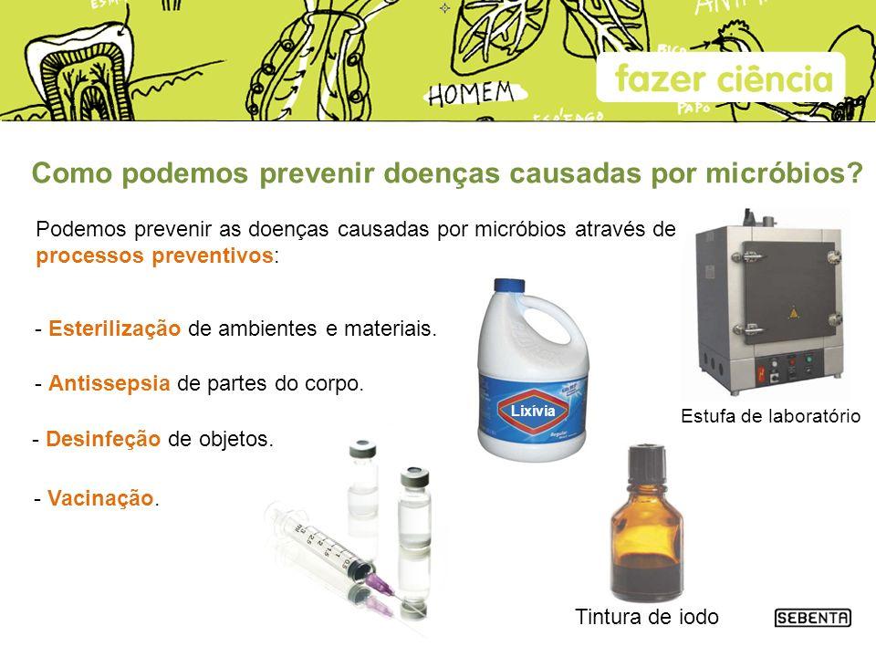 Como podemos prevenir doenças causadas por micróbios? Podemos prevenir as doenças causadas por micróbios através de processos preventivos: Estufa de l