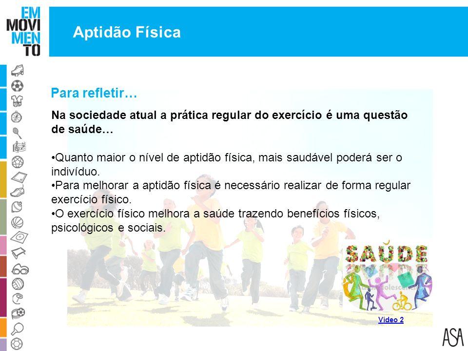 Para refletir… Na sociedade atual a prática regular do exercício é uma questão de saúde… Quanto maior o nível de aptidão física, mais saudável poderá
