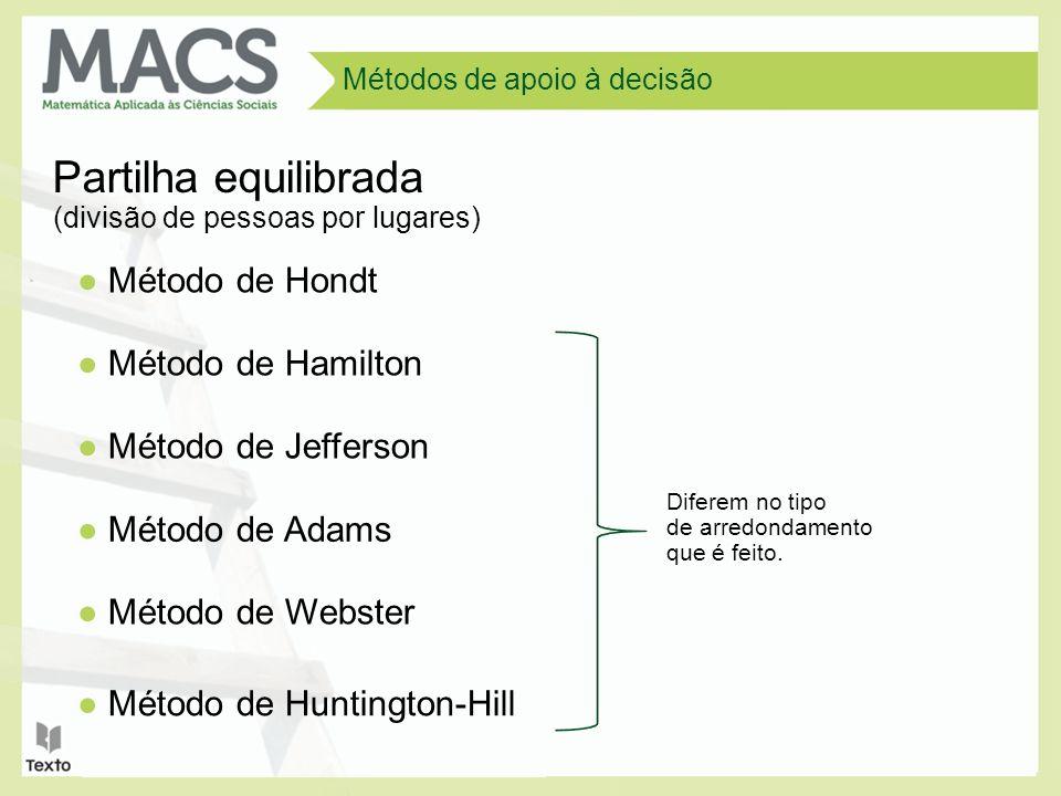 Métodos de apoio à decisão Partilha equilibrada Método de Hondt Método de Hamilton Método de Jefferson Método de Adams Método de Webster Método de Huntington-Hill (divisão de pessoas por lugares) Diferem no tipo de arredondamento que é feito.