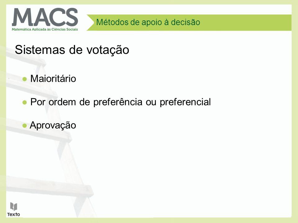 Métodos de apoio à decisão Sistemas de votação Maioritário Por ordem de preferência ou preferencial Aprovação