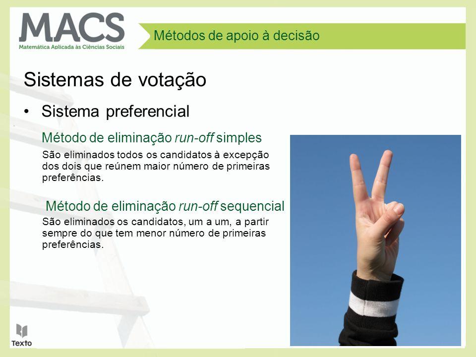 Métodos de apoio à decisão Cada um dos candidatos recebe pontos conforme o grau de preferência dos eleitores.