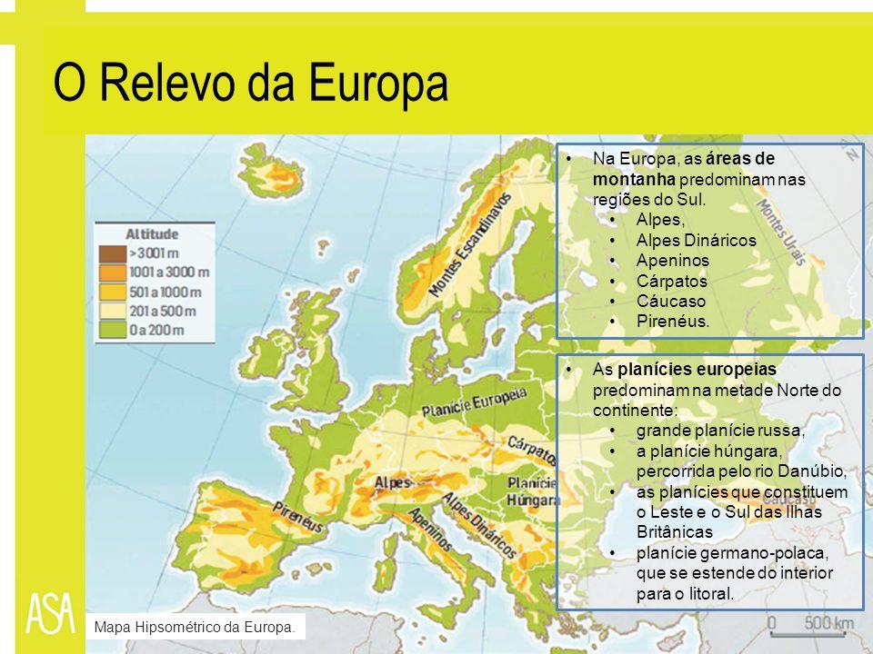O Relevo da Europa Na Europa, as áreas de montanha predominam nas regiões do Sul. Alpes, Alpes Dináricos Apeninos Cárpatos Cáucaso Pirenéus. As planíc