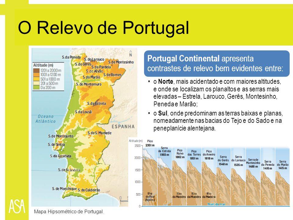 O Relevo de Portugal Mapa Hipsométrico de Portugal. Portugal Continental apresenta contrastes de relevo bem evidentes entre: o Norte, mais acidentado
