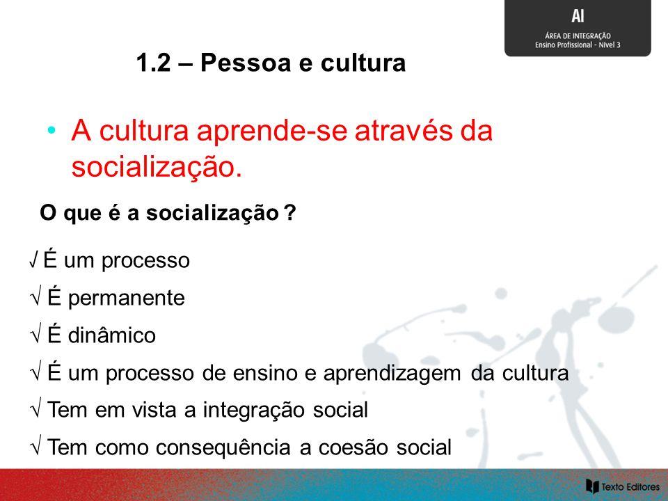 SOCIALIZAÇÃO E CULTURA A cultura aprende-se através da socialização. O que é a socialização ? É um processo É permanente É dinâmico É um processo de e