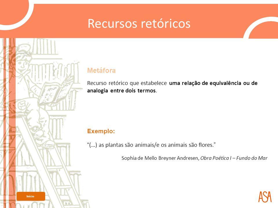 Metáfora Recurso retórico que estabelece uma relação de equivalência ou de analogia entre dois termos. Exemplo: (…) as plantas são animais/e os animai