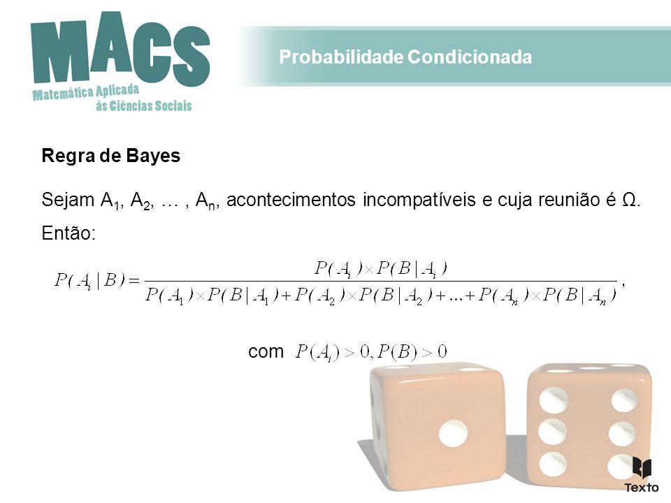 Probabilidade Condicionada Regra de Bayes Sejam A 1, A 2, …, A n, acontecimentos incompatíveis e cuja reunião é Ω. Então: com