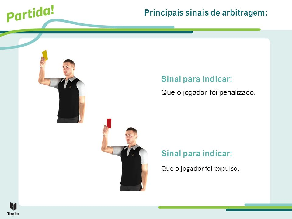 Sinal para indicar: Principais sinais de arbitragem: Sinal para indicar: Que o jogador foi penalizado. Que o jogador foi expulso.
