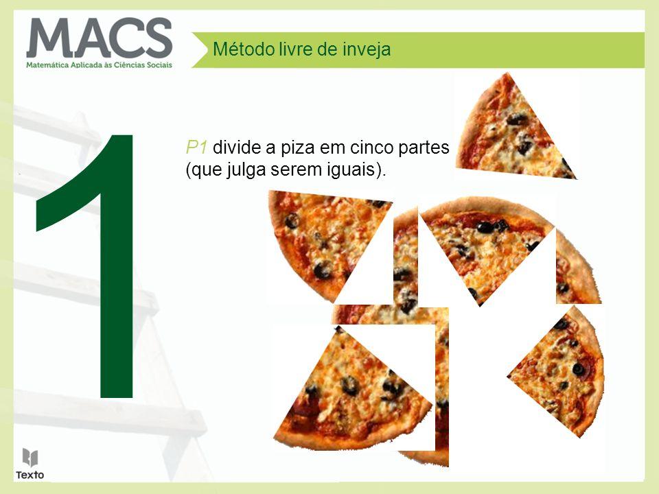 Método livre de inveja 1 P1 divide a piza em cinco partes (que julga serem iguais).