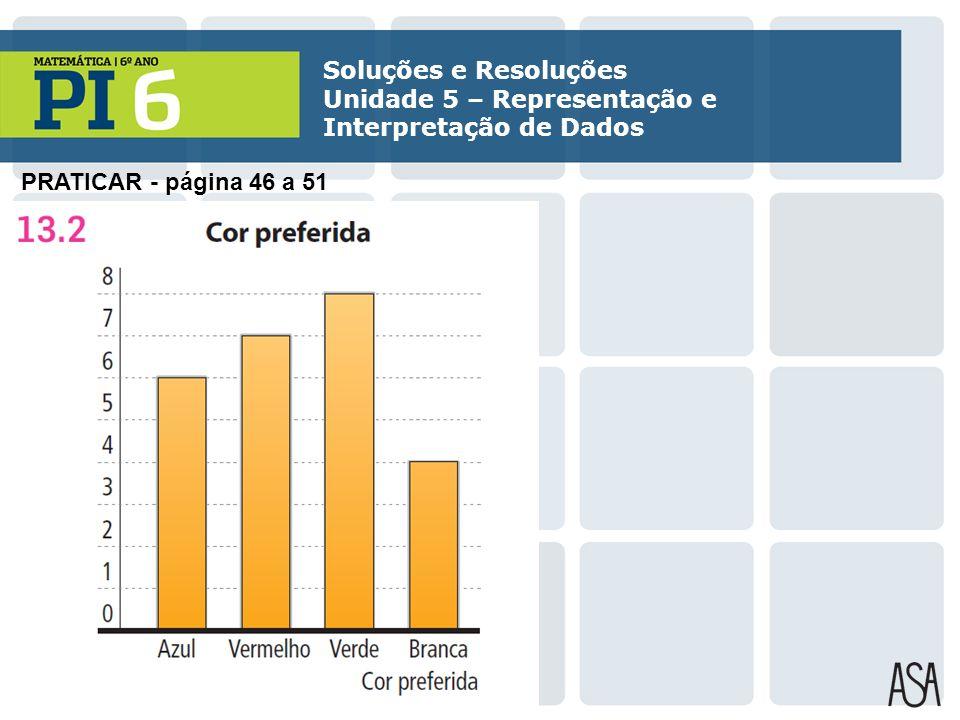 PRATICAR - página 46 a 51 Soluções e Resoluções Unidade 5 – Representação e Interpretação de Dados
