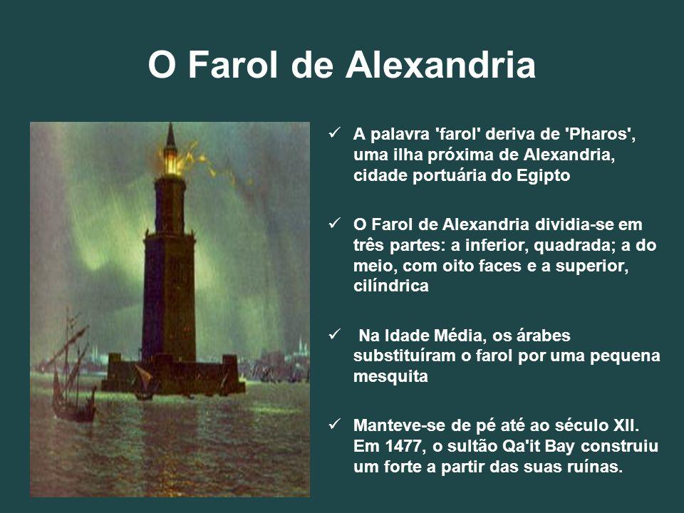 O Farol de Alexandria A palavra 'farol' deriva de 'Pharos', uma ilha próxima de Alexandria, cidade portuária do Egipto O Farol de Alexandria dividia-s