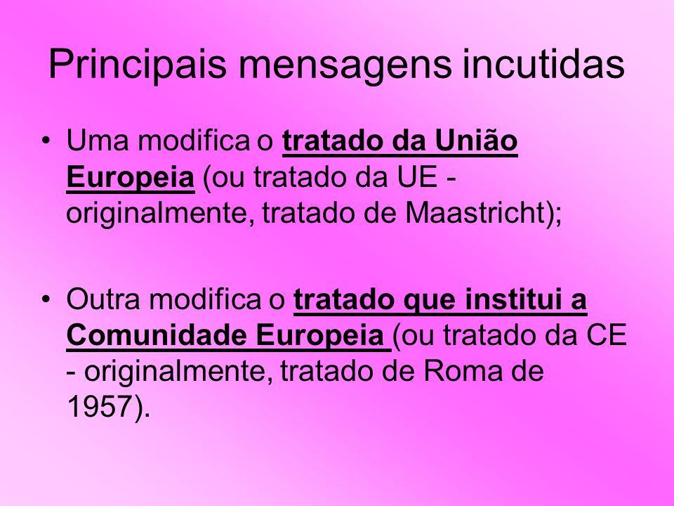 Principais mensagens incutidas Uma modifica o tratado da União Europeia (ou tratado da UE - originalmente, tratado de Maastricht); Outra modifica o tratado que institui a Comunidade Europeia (ou tratado da CE - originalmente, tratado de Roma de 1957).