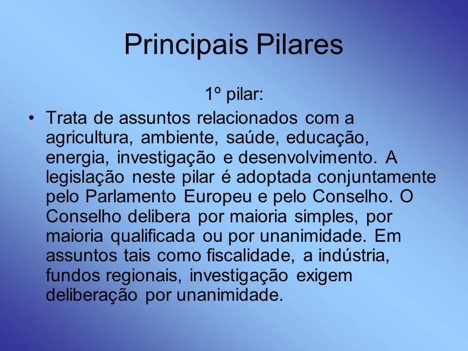 Principais Pilares 1º pilar: Trata de assuntos relacionados com a agricultura, ambiente, saúde, educação, energia, investigação e desenvolvimento. A l