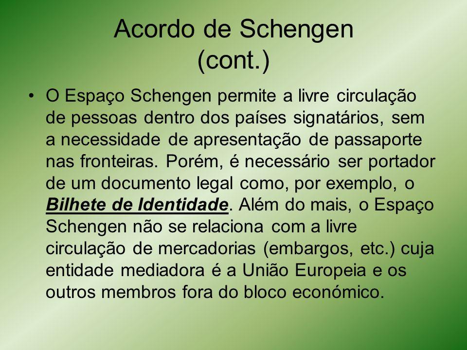 Acordo de Schengen (cont.) O Espaço Schengen permite a livre circulação de pessoas dentro dos países signatários, sem a necessidade de apresentação de