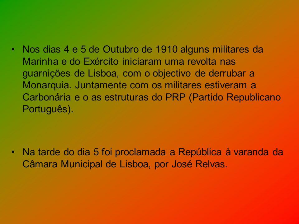 Nos dias 4 e 5 de Outubro de 1910 alguns militares da Marinha e do Exército iniciaram uma revolta nas guarnições de Lisboa, com o objectivo de derruba
