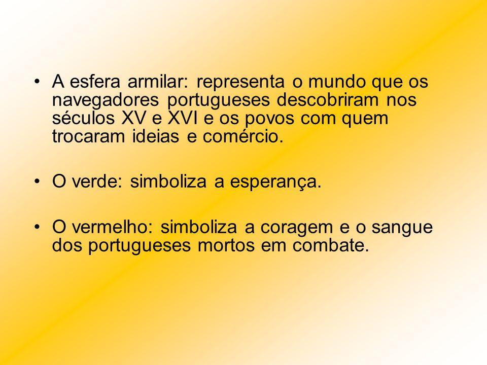 A esfera armilar: representa o mundo que os navegadores portugueses descobriram nos séculos XV e XVI e os povos com quem trocaram ideias e comércio. O