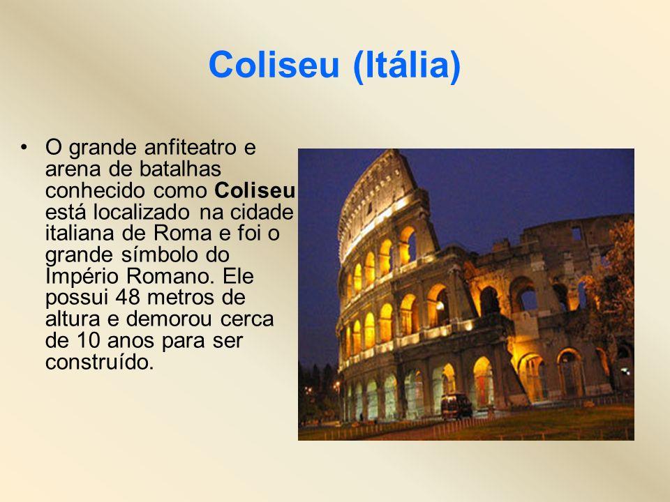 Coliseu (Itália) O grande anfiteatro e arena de batalhas conhecido como Coliseu está localizado na cidade italiana de Roma e foi o grande símbolo do I