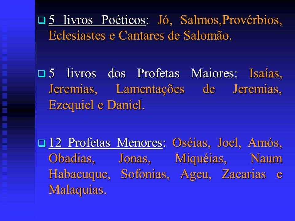 5 livros Poéticos: Jó, Salmos,Provérbios, Eclesiastes e Cantares de Salomão. 5 livros Poéticos: Jó, Salmos,Provérbios, Eclesiastes e Cantares de Salom