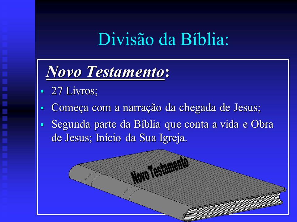 Divisão da Bíblia: Novo Testamento: Novo Testamento: 27 Livros; 27 Livros; Começa com a narração da chegada de Jesus; Começa com a narração da chegada