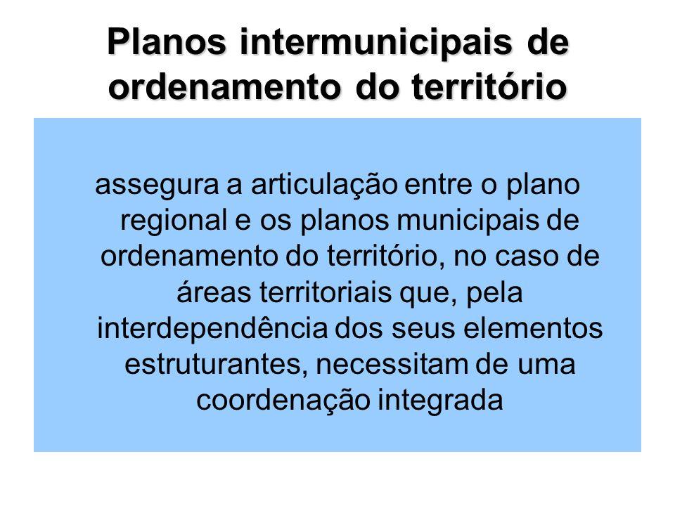 Planos intermunicipais de ordenamento do território assegura a articulação entre o plano regional e os planos municipais de ordenamento do território, no caso de áreas territoriais que, pela interdependência dos seus elementos estruturantes, necessitam de uma coordenação integrada