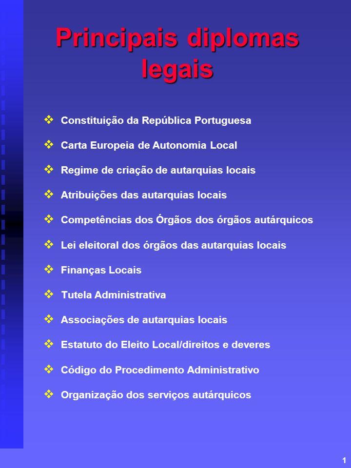 1 Principais diplomas legais Constituição da República Portuguesa Carta Europeia de Autonomia Local Regime de criação de autarquias locais Atribuições