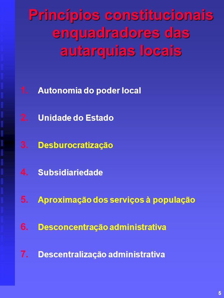 5 Princípios constitucionais enquadradores das autarquias locais 1. 1. Autonomia do poder local 2. 2. Unidade do Estado 3. 3. Desburocratização 4. 4.