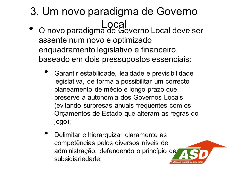 3. Um novo paradigma de Governo Local O novo paradigma de Governo Local deve ser assente num novo e optimizado enquadramento legislativo e financeiro,