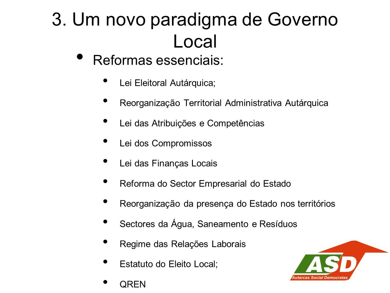 3. Um novo paradigma de Governo Local Reformas essenciais: Lei Eleitoral Autárquica; Reorganização Territorial Administrativa Autárquica Lei das Atrib