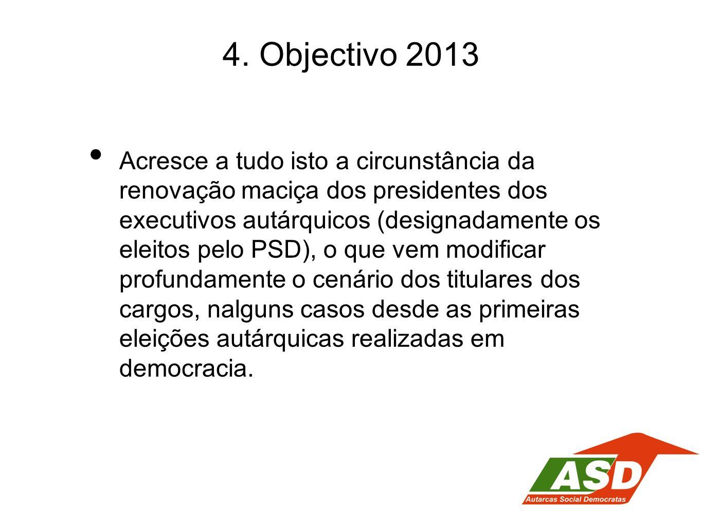 4. Objectivo 2013 Acresce a tudo isto a circunstância da renovação maciça dos presidentes dos executivos autárquicos (designadamente os eleitos pelo P