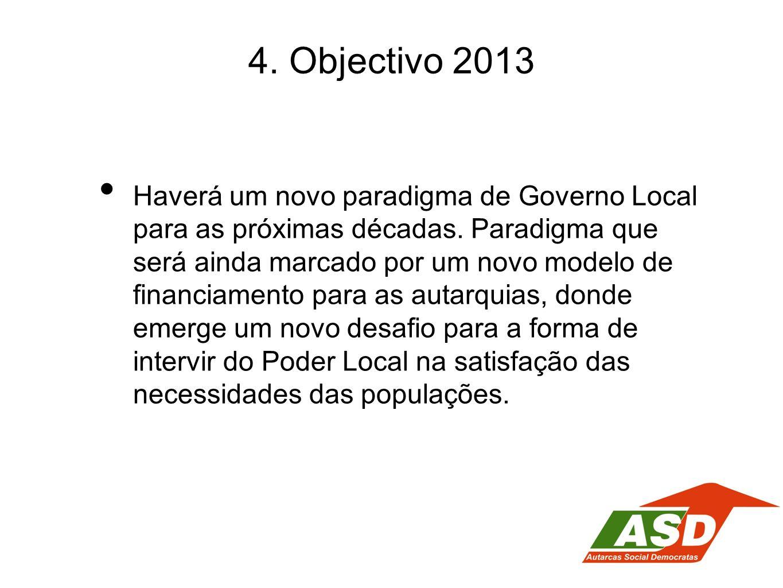 4. Objectivo 2013 Haverá um novo paradigma de Governo Local para as próximas décadas. Paradigma que será ainda marcado por um novo modelo de financiam