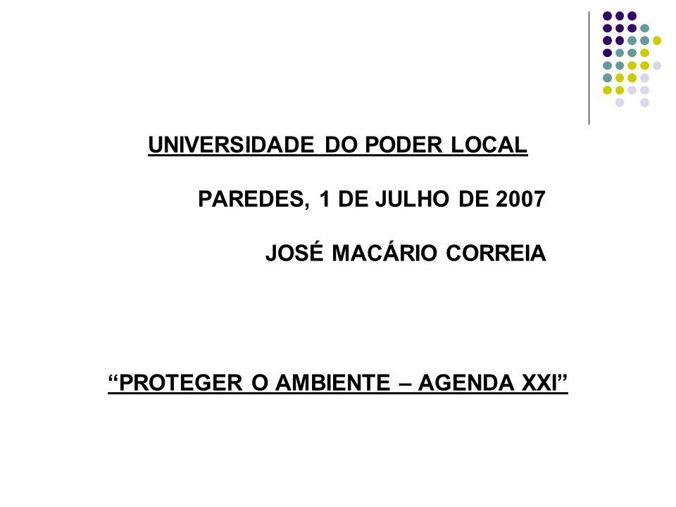 UNIVERSIDADE DO PODER LOCAL PAREDES, 1 DE JULHO DE 2007 JOSÉ MACÁRIO CORREIA PROTEGER O AMBIENTE – AGENDA XXI