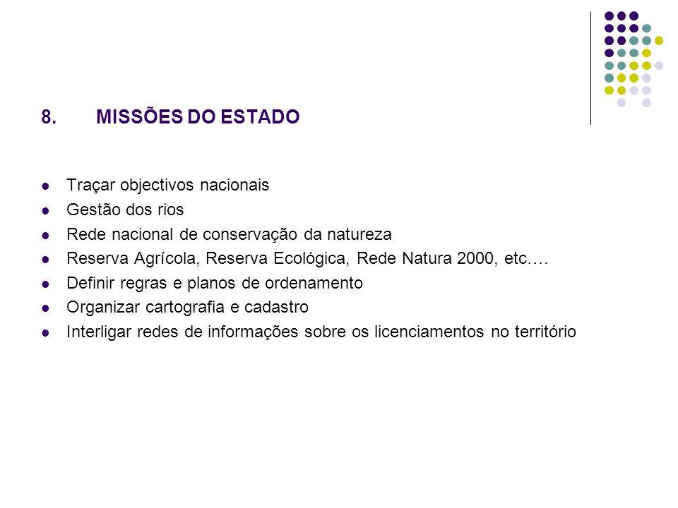 8.MISSÕES DO ESTADO Traçar objectivos nacionais Gestão dos rios Rede nacional de conservação da natureza Reserva Agrícola, Reserva Ecológica, Rede Natura 2000, etc….