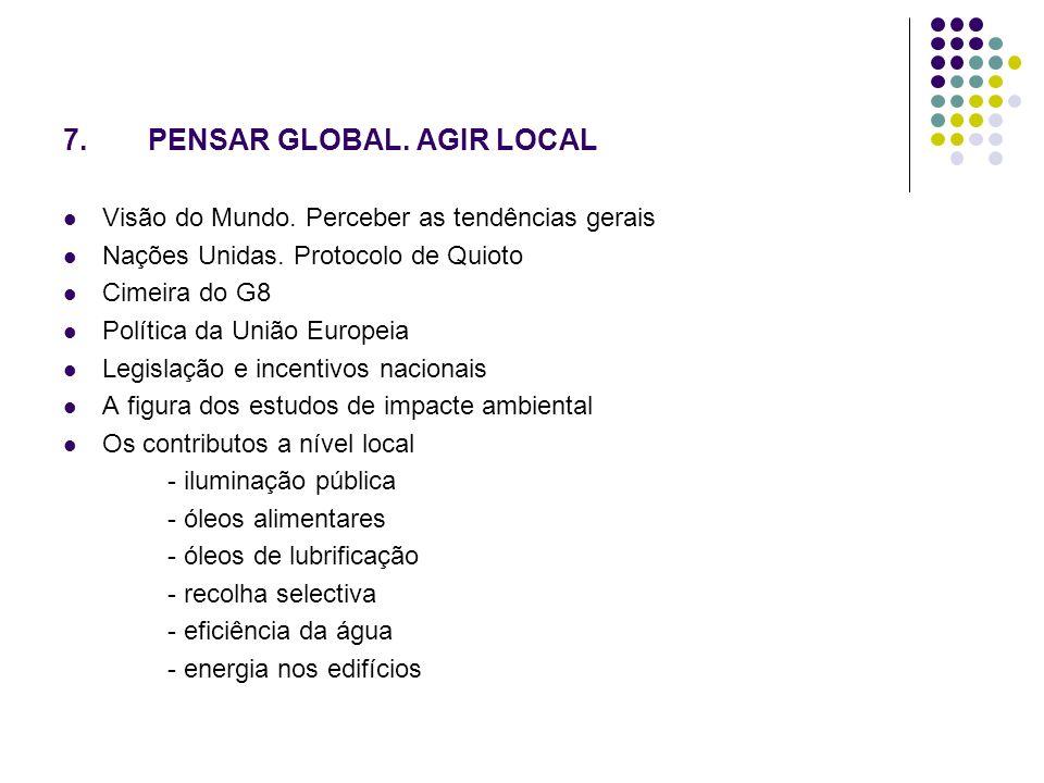 7.PENSAR GLOBAL. AGIR LOCAL Visão do Mundo. Perceber as tendências gerais Nações Unidas.