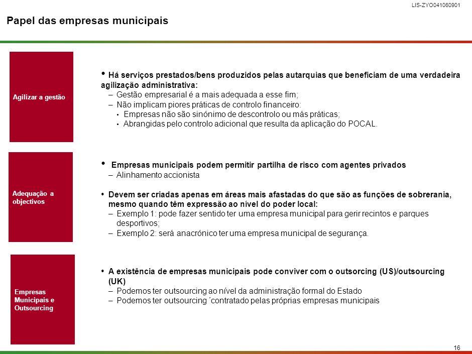 15 LIS-ZYO041060901 ESTRUTURA DO DOCUMENTO Entendimento geral sobre o papel do Estado na economia Iniciativas para a redefinição do papel do Estado Nas autarquias locais