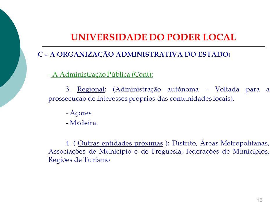 9 UNIVERSIDADE DO PODER LOCAL C – A ORGANIZAÇÃO ADMINISTRATIVA DO ESTADO: A Administração Pública (Cont): 1.