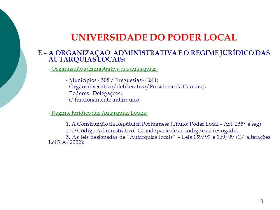 12 UNIVERSIDADE DO PODER LOCAL D - Princípios Constitucionais das Autarquias Locais (Cont): 2.