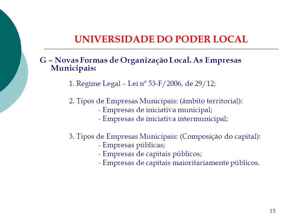 14 UNIVERSIDADE DO PODER LOCAL F – Figuras Próximas das Autarquias Locais: 1.